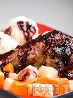 Пуешки бутчета със сос от червено вино и боровинки - снимка на рецептата